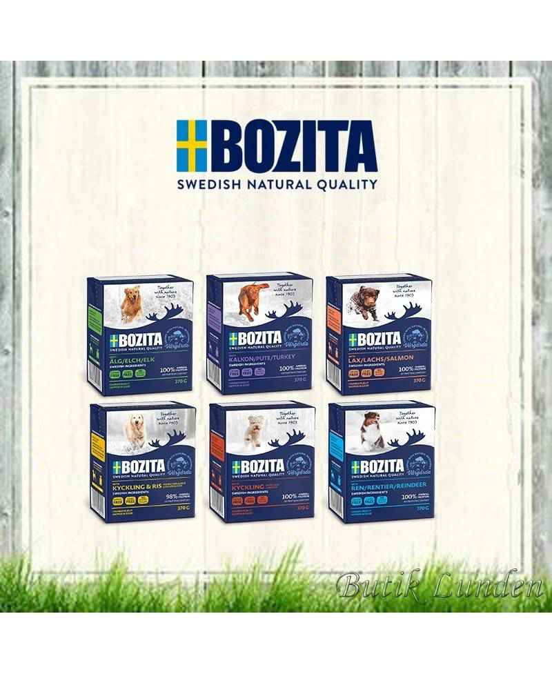 16 stk Bozita bidder i gele Vådfoder assorteret á 370 gram  - 1
